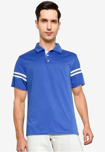 ZALORA BASICS blue Contrast Stripe Polo Shirt E07B2AA89D682BGS_1