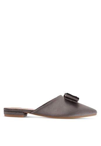 Velvet grey Bow Backless Flats 1E89DSH1733B3CGS_1