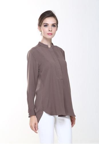 070577265b9557 Rina Nichie Basic brown Eva Suit Top in Dark Brown E701DAA69335C7GS 1