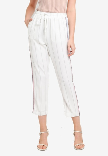 Hopeshow black and white Sporty Linen Striped Capri Pants with Elastic Waistband CE235AAF9A3D67GS_1