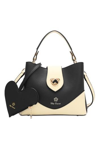 Wild Channel black 2 In 1 Heart Top Handle Bag DE2D7ACA8365D6GS_1