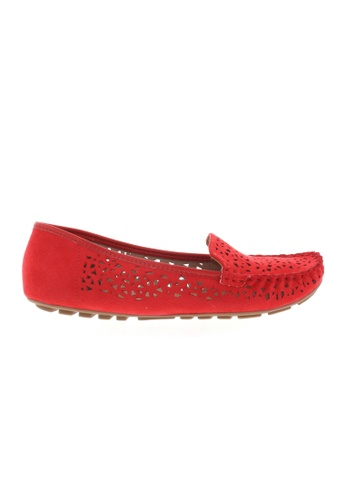 Beira Rio red Cut Out Design Perforated Flats BE995SH71ZIYHK_1