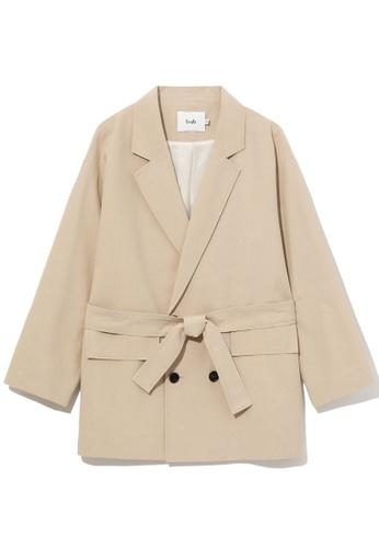 b+ab beige Oversized blazer jacket 6BA5FAA9467A8AGS_1
