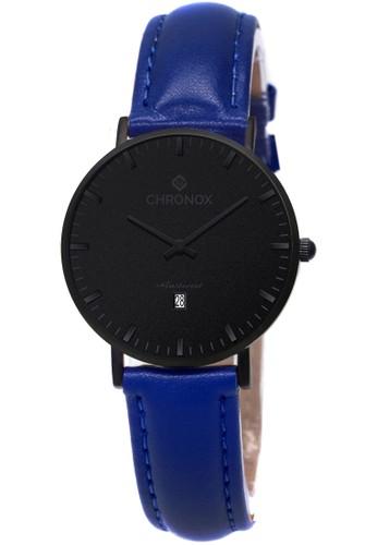 CHRONOX blue CHRONOX CX1007/A5 Full Black - Jam Tangan Wanita Casual -Tali Biru- Genuine Leather Strap 90C67AC4E55A06GS_1