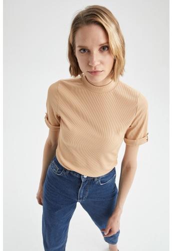DeFacto gold Woman Knitted Short Sleeve T-Shirt A8E73AAFBF8F65GS_1
