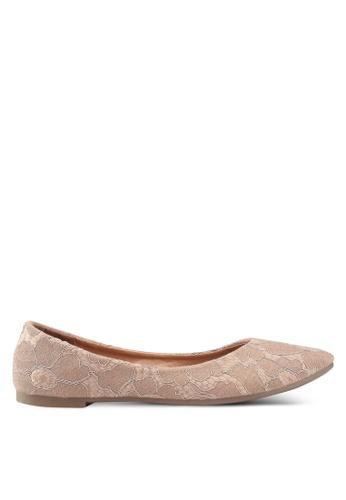 Noveni 米褐色 蕾絲平底鞋 0F4A9SH06C6BBBGS_1