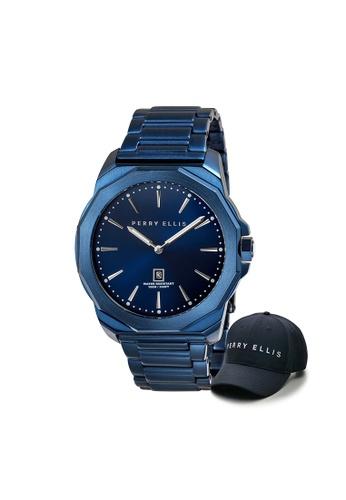 Perry Ellis blue Perry Ellis Decagon Men 46mm Quartz Stainless Steel Watch 05007-02 with Perry Ellis Cap 0B1E8AC73AB9DCGS_1
