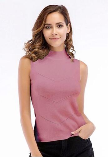 Twenty Eight Shoes pink VANSA Knit Cami Top  VCW-Se5730 05AF9AAE34FF59GS_1