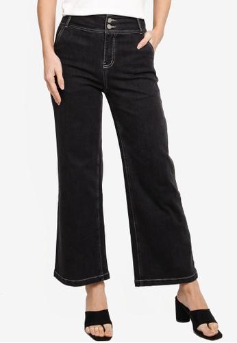 Hopeshow black Contrast Stitch Flare Cuff Denim Jeans 9814DAAACBC0CCGS_1