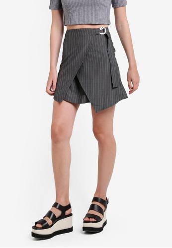 Something Borrowed grey Ring Detail Wrap Skirt 02563AA4DA44DDGS_1