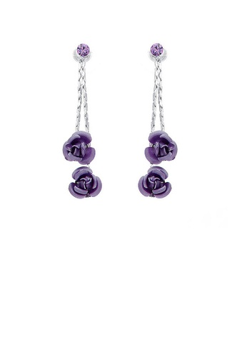 Glamorousky silver Purple Rose Earrings with Purple Austrian Element Crystals AA63DAC0CD1242GS_1