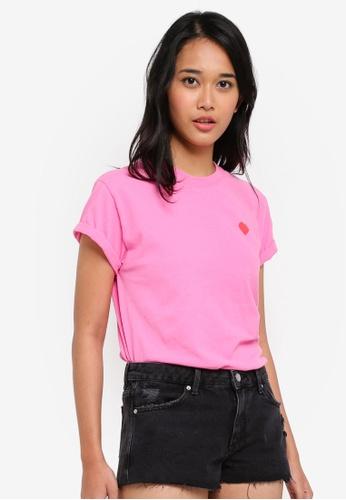 TOPSHOP pink Petite No Love Back T-Shirt B1ACCAABD2B58DGS_1