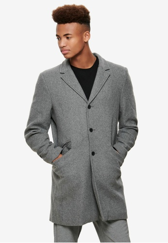 Only & Sons grey Julian Solid Wool Coat 53125AAACFED29GS_1