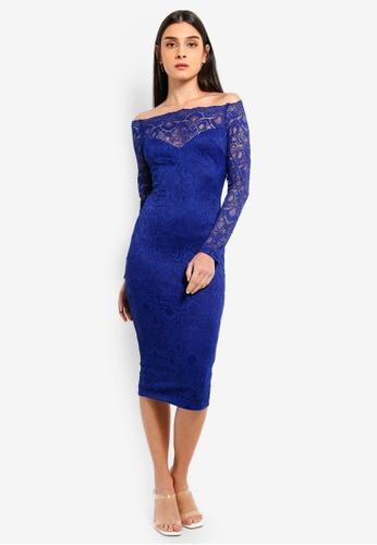 AX Paris blue Blue Lace Long Sleeved Midi Dress 20BBFAA66322A8GS_1
