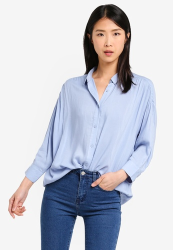 ZALORA BASICS blue Oversized Gathered Shirt B0D52AA37DC809GS_1