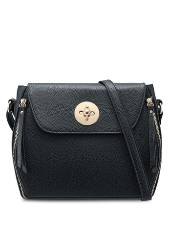Dorothy Perkins black Black Double Zip Crossbody Bag E24D7AC77F99DDGS_1