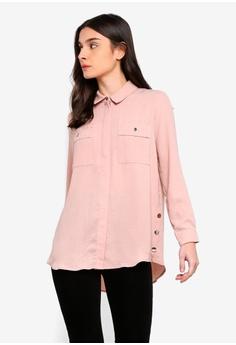6f25a642fda Wallis pink Petite Blush Longline Shirt 53E4BAA1890410GS_1