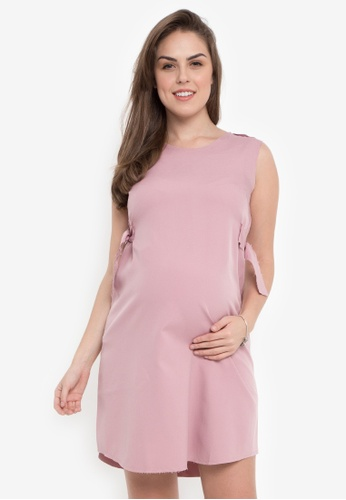 c0c7b7c8a396a Great Expectations pink SLEEVELESS MATERNITY SHIFT DRESS WITH BELT  E2900AAABA8C7DGS 1