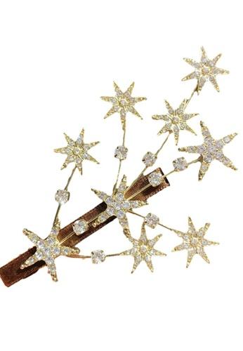 Kings Collection gold Star Shape Glitter Rhinestone Hair Clip (HA20023a) F2A98AC3271028GS_1