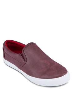 Faux Leather Slip On Sneakers