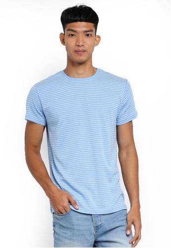 !Solid 藍色 短袖條紋T恤 D9C39AA93F78E0GS_1