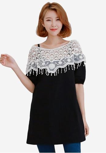 Sesura black Pleasing Charm Lace Tunic 4285BAA8FAE823GS_1