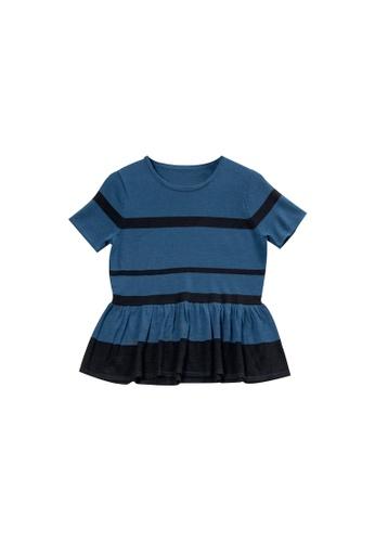 KLAPS blue Short Sleeves Merino Sweater with Ruffled Detail 4C570AA0D3F93FGS_1