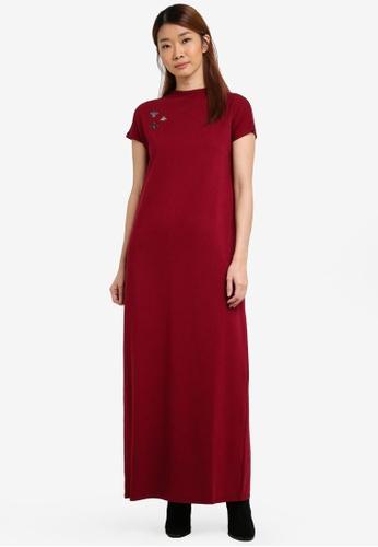 Something Borrowed red Embellished Knitted Maxi Dress 8B4CCZZB88EFECGS_1