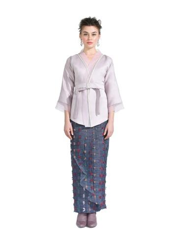 Callalily Purple Kimono Cardigan with Pario Skirt from Hernani in Purple
