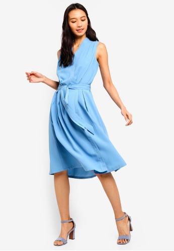 ZALORA 藍色 Wrap Midi Dress 36040AA06815E2GS_1