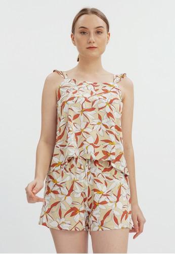 Cloth Inc orange Hana Floral Set in Orange 1C6AAAA34F3593GS_1