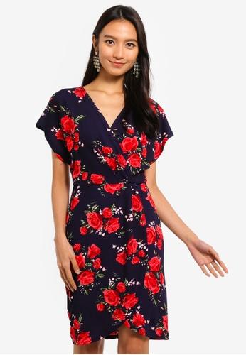 Mela London navy Wrap Effect Dress 73CE4AA0F28F4EGS_1