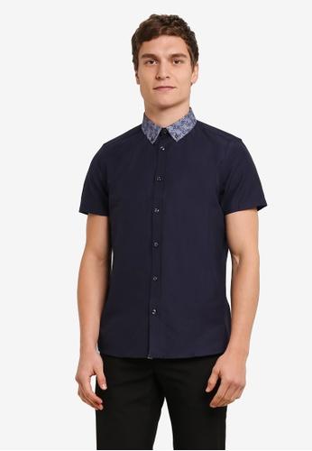 Burton Menswear London blue and navy Short Sleeve Paisley Print Collar Oxford Shirt BU964AA0S7EKMY_1