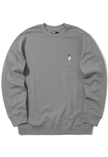 BLOCKAIT grey Embroidered emblem sweatshirt FF066AA85F9AEBGS_1