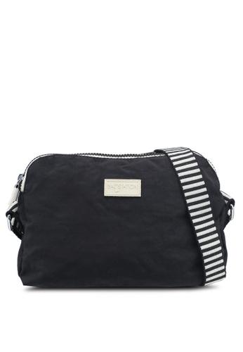 Bagstationz black Crinkled Nylon Dual Zip Sling Bag With Zebra Strap  4A097AC30DF340GS 1 a8c0e2b398b34