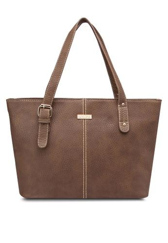 Unisa brown Vintage Contrast Stitching Ladies Tote Bag UN821AC38DSVMY_1