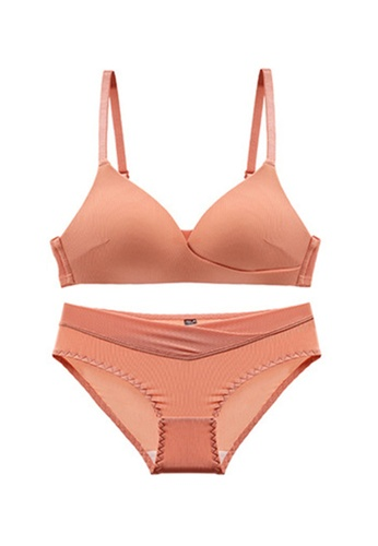 ZITIQUE red Young Girls' Summer Sexy Ultra-thin Triangle Cup Lingerie Set (Bra And Underwear) - Caramel C1A18US09A9955GS_1