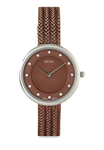 ZECA silver and brown Zeca Watches Ladies Fashion Stainless Steel Analog - 1001LP(2) Brown Silver 06008AC3AB8713GS_1