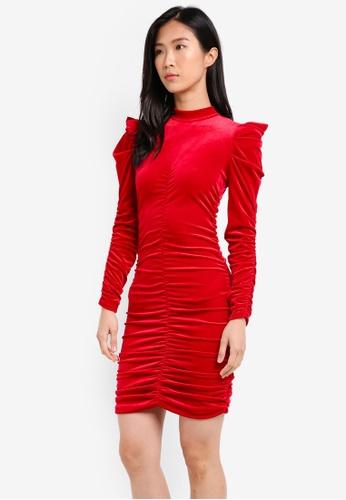Miss Selfridge red Red Ruched Velvet Bodycon Dress MI665AA0SISHMY_1