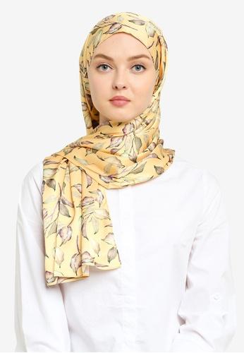 Hijabii 黃色 印花頭巾 02004ACE9BE8B2GS_1