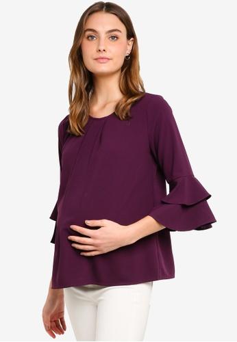 Spring Maternity 紫色 孕婦裝 荷葉袖上衣 0B4E1AAF2D0F9EGS_1