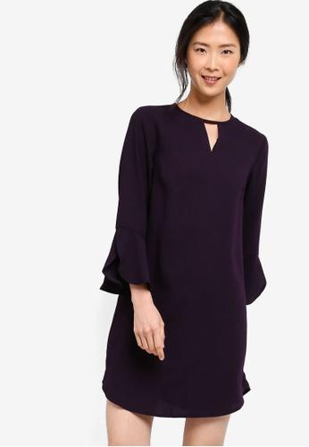 74003875f824 Shop ZALORA BASICS Basic Frill Sleeves Swing Dress Online on ZALORA ...