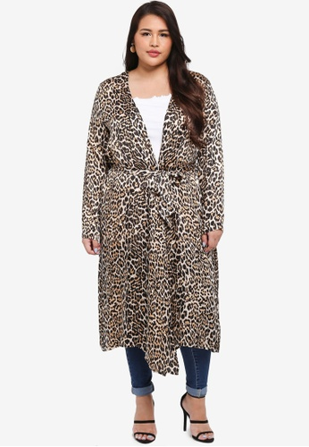 MISSGUIDED brown and multi Plus Size Leopard Print Kimono Cardi A61EFAA00C96BEGS_1