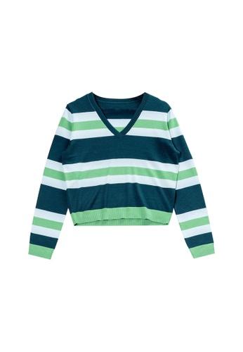 KLAPS green V-neck Colored Stripe Sweater 9A09FAA4EDDFD0GS_1