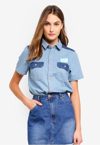Calvin Klein blue Boxy Color Block Shirt B20A6AAB7AE7CEGS_1