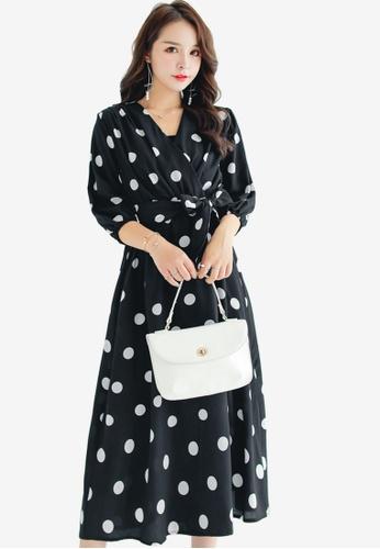 e098ce34dc6 Shopsfashion black Polka Dot Midi Dress E97EBAA7106514GS 1