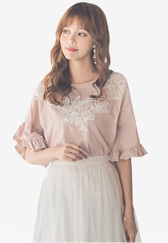 Yoco pink Lace Ruffle Sleeve Blouse EBC89AA1A15260GS_1