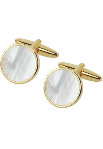 CUFF IT white Gold Mother of Pearl Round Cufflinks CU047AC18VVTHK_1