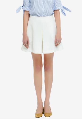 Hopeshow 白色 Flaired Mini Skirt AEB1CAA6C2D7D6GS_1