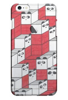 Panda Blocks Transparent Hard Case for iPhone 6